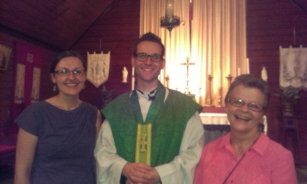 Bek and Carole with Fr Chris Golding after sharing their experiences at Morningside Anglican Church in Brisbane