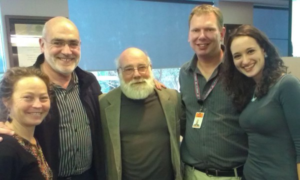 Professor Jeff Halper with World Vision staff after speaking at a joint PIEN and World Vision Australia event in Melbourne - Sept 2013